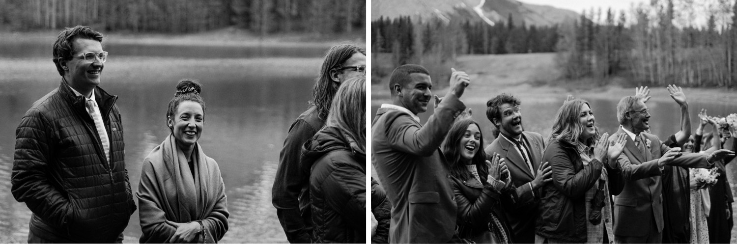A Kananaskis Lake Elopement in the beautiful Canadian Rockies photo of family and friends cheering and celebrating