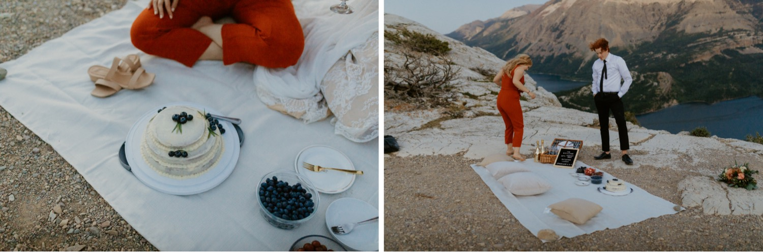 Waterton Wedding Adventurous Mountain Elopement style in the beautiful Canadian Rocky Mountains picnic on a mountain top after the elopement ceremony
