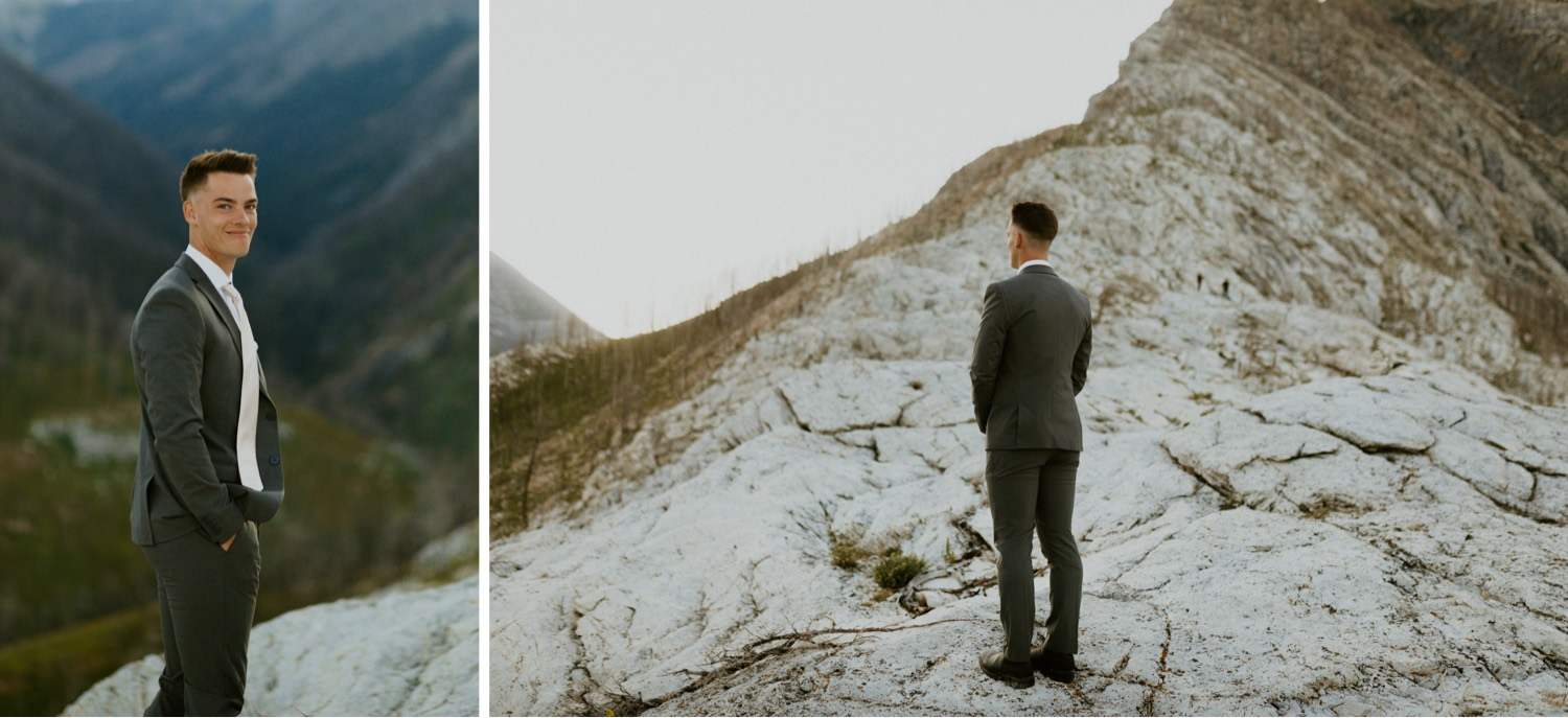 Waterton Wedding Adventurous Mountain Elopement style in the beautiful Canadian Rocky Mountains groom waiting for his bride on the mountain top for their first look
