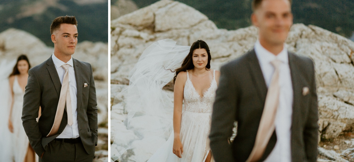 Waterton Wedding Adventurous Mountain Elopement style in the beautiful Canadian Rocky Mountains bride walking towards her groom for their first look