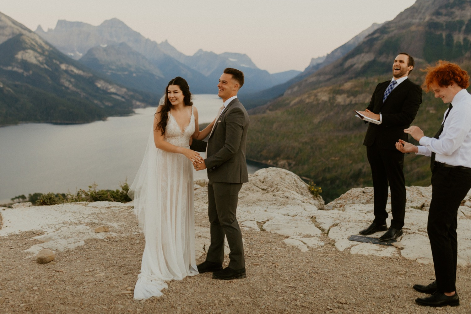 Waterton Wedding Adventurous Mountain Elopement style in the beautiful Canadian Rocky Mountains ceremony at the mountain top with close friends and officiant