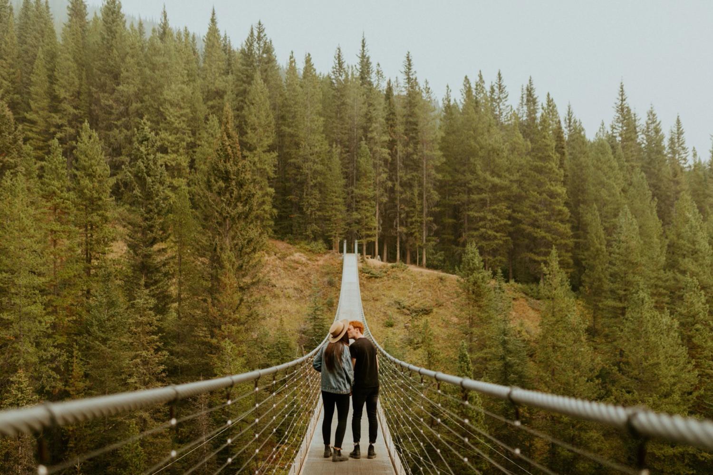 Kananaskis Engagement Photos on a hike during the summer near Banff