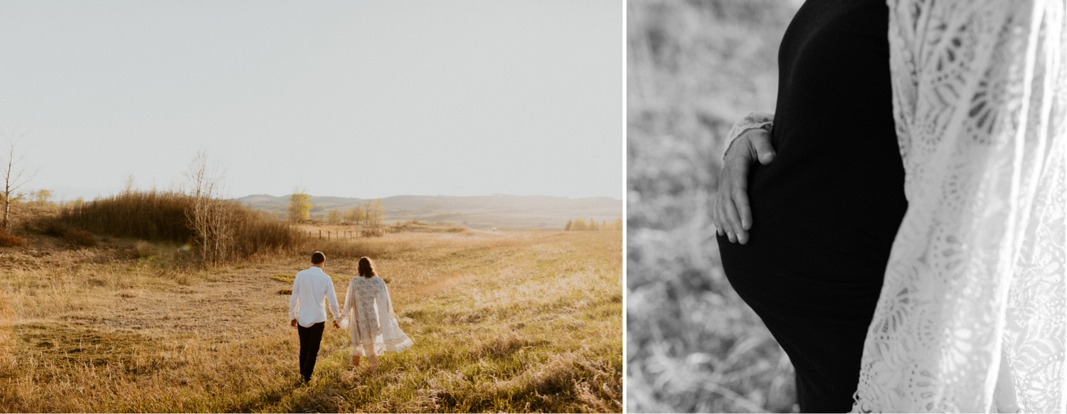 Maternity Family Photos in Calgary with mother and father dressed up for their pregnancy photoshoot with white flowy dress and baby boy in mothers belly near the mountains in Calgary Alberta during a beautiful sunset, maternity lifestyle photos in Calgary, casual lifestyle maternity photoshoot, baby photos