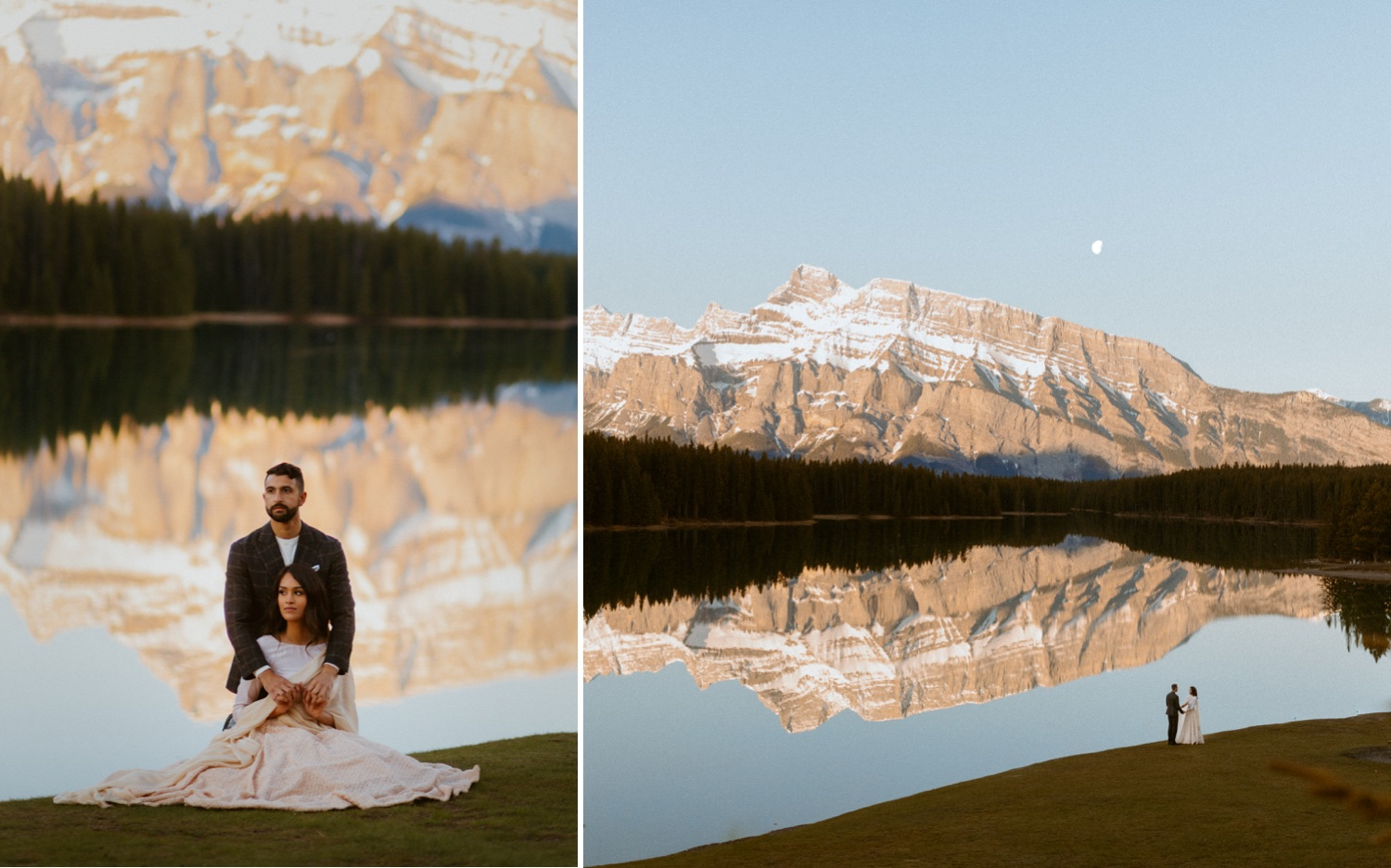 Engagement Photos in Banff at a Beautiful Lake with couple dressed up in bollywood Indian clothes for their engagement photoshoot with flowy lengha dress and suit near the mountains in Calgary Banff Alberta during a beautiful sunrise, Engagement photos, Engagement photos in Banff, Bollywood Engagement photos in Banff, Engagement photos in Banff at two jack lake
